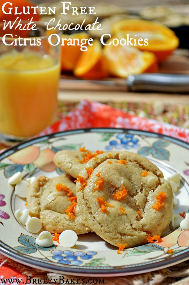 Hints of fresh ginger and orange peel shine through in these soft and chewy, vanilla flavored Gluten Free White Chocolate Chip Citrus Cookies.