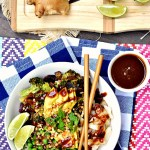 Enjoy this hassle free vegetarian dinner with a quick and easy microwavable Thai peanut sauce. These extra colorful Gluten Free Lime Peanut Sauce Roasted Veggie Bowls will leave you feeling healthy and satisfied.