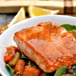 Gluten Free Worcestershire Brown Sugar Glazed Salmon with Roasted Butternut Squash