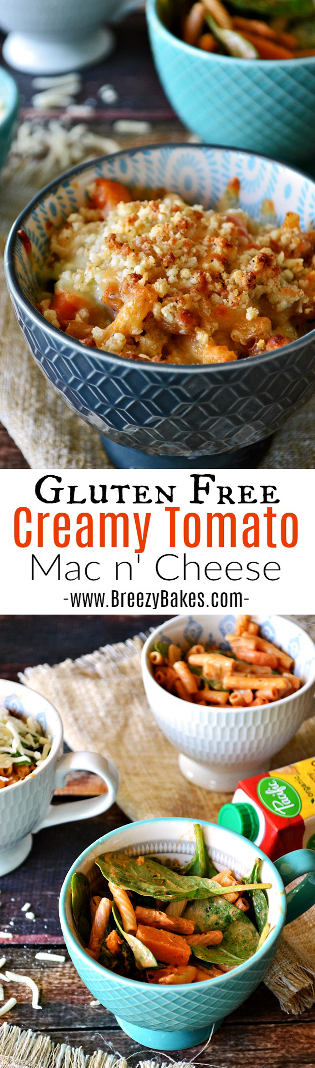 Your kids will love this ultra creamy and satisfyingly savory vegetarian Gluten Free Creamy Tomato Spinach Mac n' Cheese. Hide all kinds of veggies in this kid approved and adult loving individually served pasta dish.