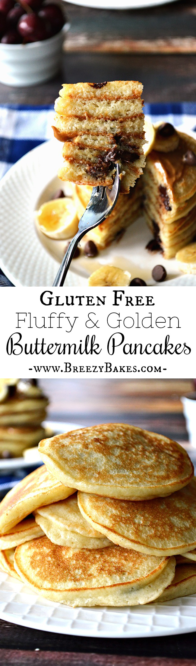 Start your day with a batch of Gluten Free Fluffy Buttermilk Pancakes. They're a blank canvas for your favorite pancake toppings and spreads. Rise and shine sunshine!