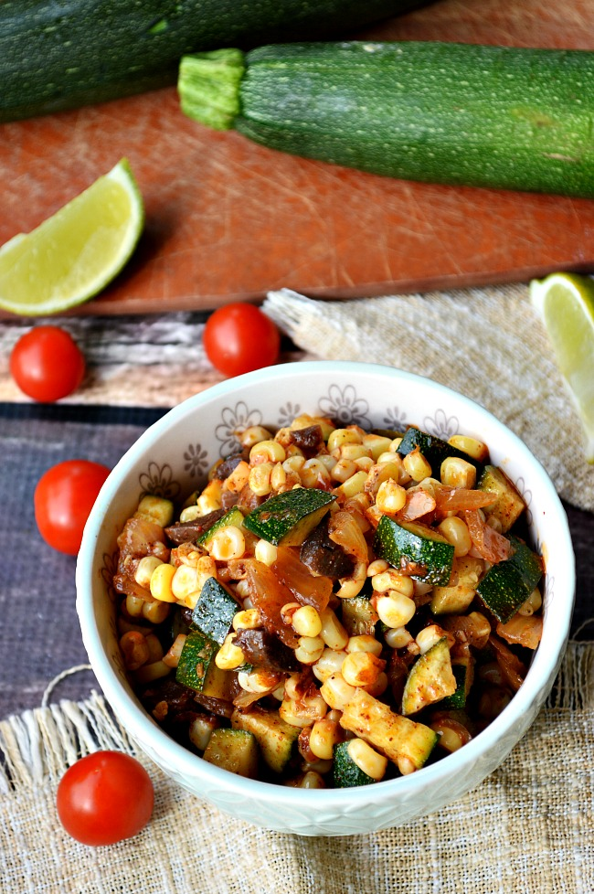 Fire up this Southwest Sweet Corn and Zucchini Saute. Sweet corn, fresh zucchini, robust mushrooms, and savory onions make for a perfect southwest flare.