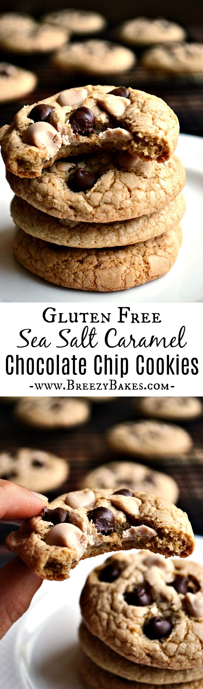 Ghirardelli has outdone themselves with their new caramel baking chips! They're the perfect addition for these sweet and salty Gluten Free Caramel Chocolate Chip Cookies.