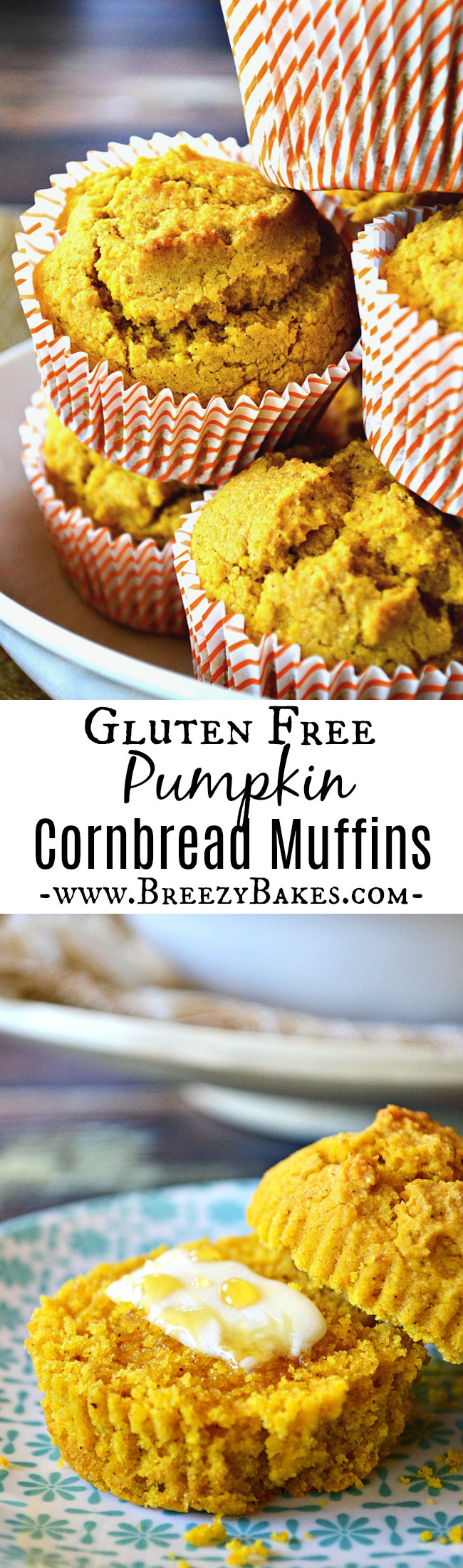 Welcome fall with these light and fluffy Gluten Free Pumpkin Cornbread Muffins. They're slightly sweet with a touch of cinnamon and a hint of pumpkin. Hello holidays!