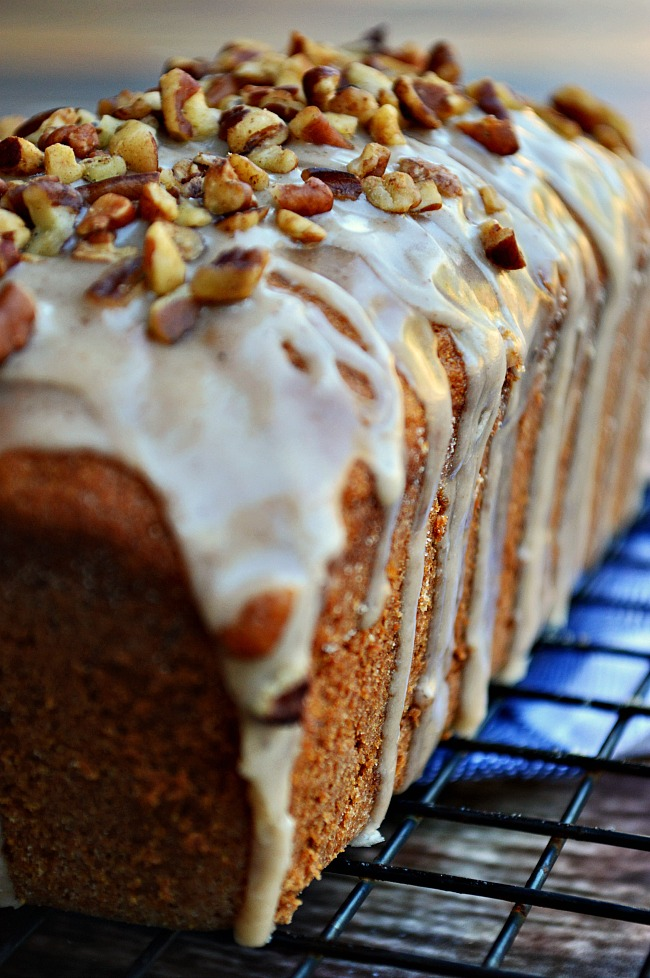This Gluten Free Maple Cinnamon Banana Bread is bursting with your favorite morning flavors: warm cinnamon, pure maple syrup, and a sweet vanilla glaze. You'll never be happier to have ripe bananas laying around!