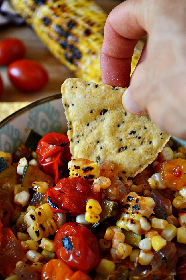 Grill or no grill, you can whip up this Red Wine Charred Tomato and Corn Salsa. Serve it piping hot on top of your favorite meat or rice, or chilled as a flavorful salsa.