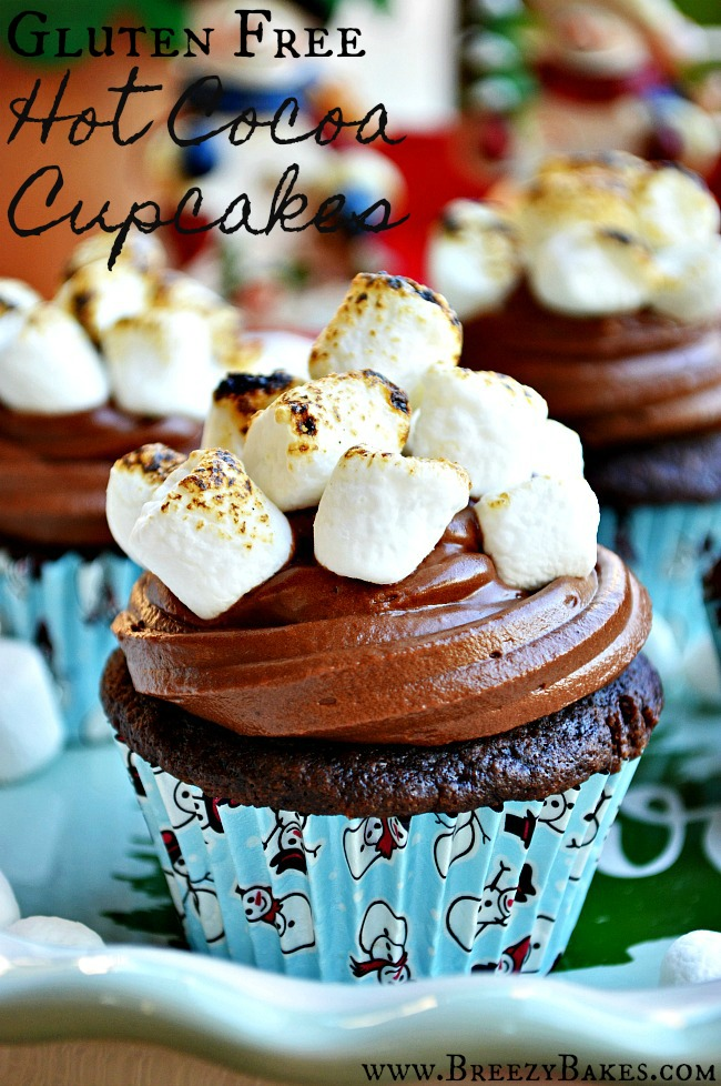 Who needs a cup of hot chocolate when you can chow down on a batch of Gluten Free Hot Cocoa Cupcakes?! Light and fluffy chocolate cupcakes topped with smooth milk chocolate frosting and topped with toasted mini marshmallows. I'm gonna be looking for these on our next Polar Express!