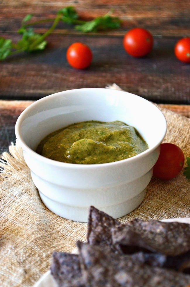 This sauce is the BOSS!!! There's a touch of tang, a bit of fire, and a whole lot of flavor in this Roasted Tomatillo Cilantro Salsa Verde. Use this sauce as a simple dip or to accompany your favorite meals.