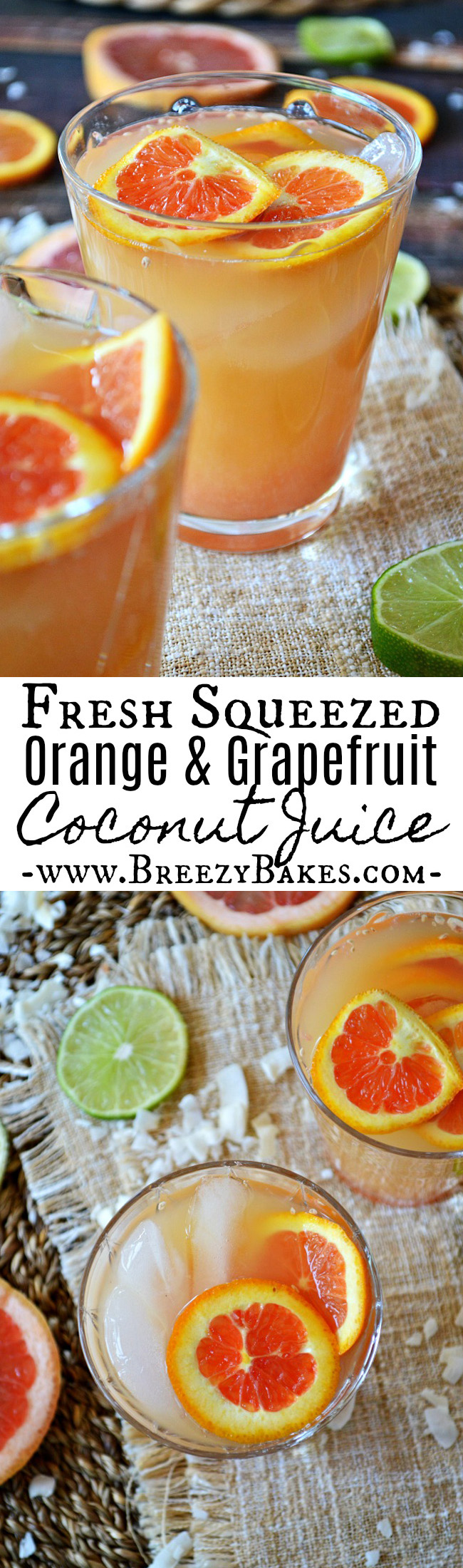 Whether it's a jump start to your morning or a mid day pick-me-up, this Fresh Squeezed Orange and Grapefruit Coconut Juice is the perfect refresher! A mixture of orange juice, grapefruit juice and coconut water give this a light tropical, citrus flavor.