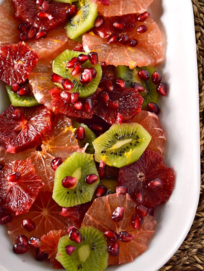 Splash into the new year with this sweet and tangy Meyer Lemon Citrus Fruit Salad. It's the perfect mixture of summer and winter!