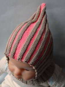 Baby elfenmuts biologisch katoen medium bruin-roze