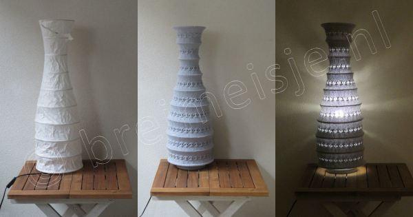 Lampenkap breien - patroon - IKEA lamp voor en na