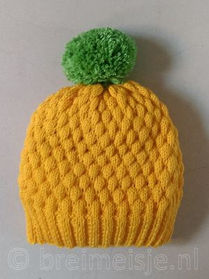 Ananas muts, bubble wrap stitch