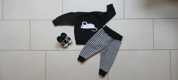 Babykleding zwart wit breien patronen