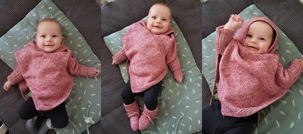 Baby poncho breien patroon