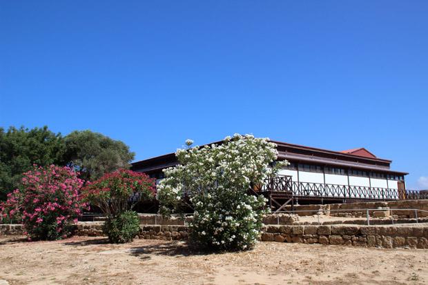 Das Haus des Dionysos wurde komplett verkleidet. Draußen blüht Oleander