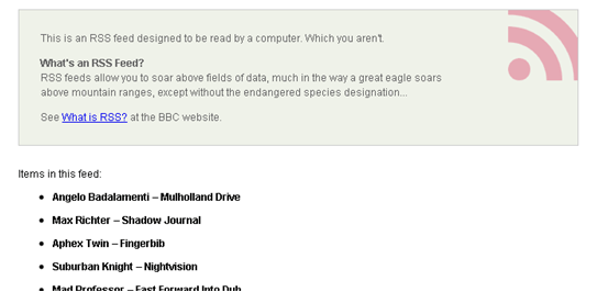 Last.fm RSS feed browser output