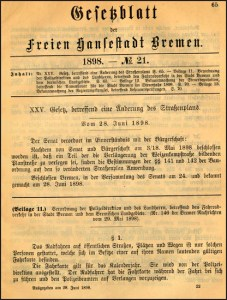 Early Bremen Bicycle Law