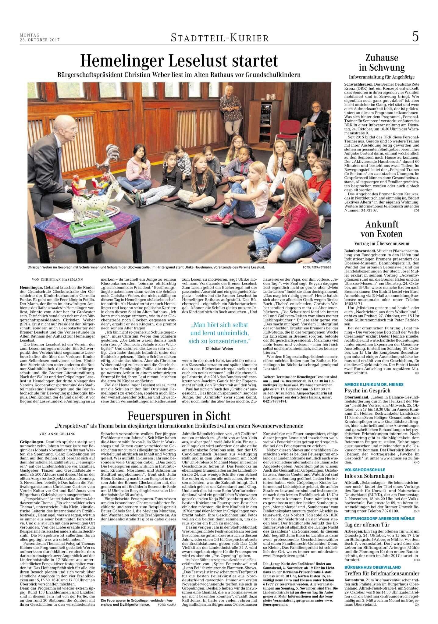 Hemelinger Leselust startet Bürgerschaftspräsident Christian Weber liest im Alten Rathaus vor Grundschulkindern - Stadt-teil Kurier Bremen 23 Oktober 2017 BremerLeseLust