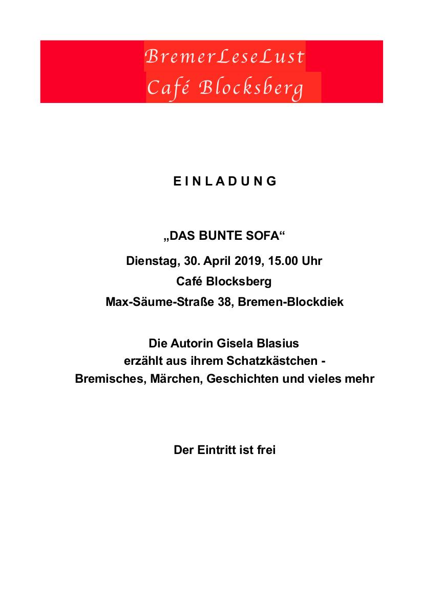 Das Bunte Sofa Cafe Blocksberg BremerLeseLust 30. April 2019
