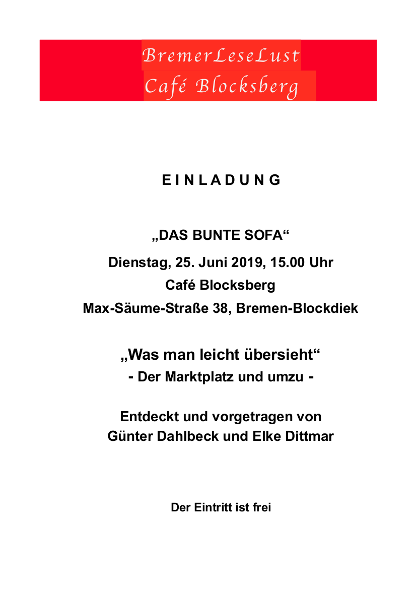 Das Bunte Sofa Juni 2019 BremerLeseLust