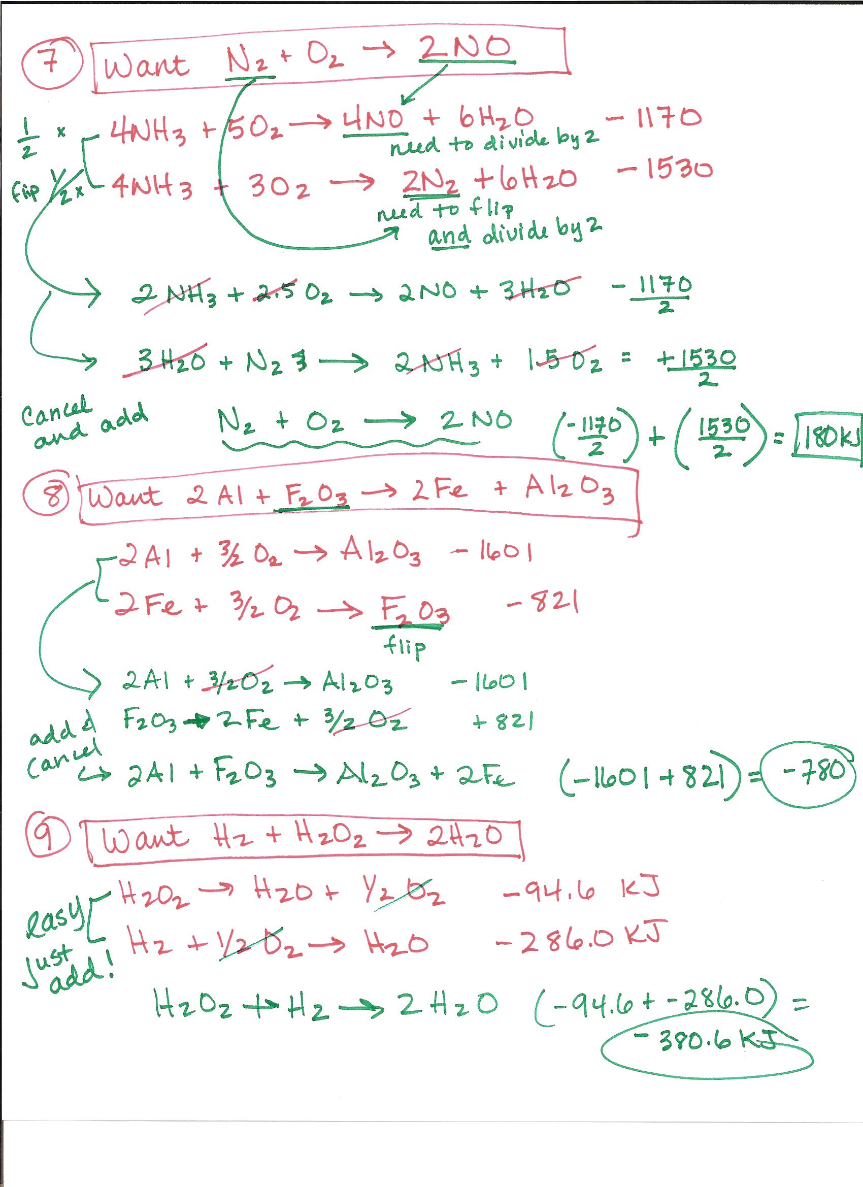 Hess S Law Worksheet With Answers