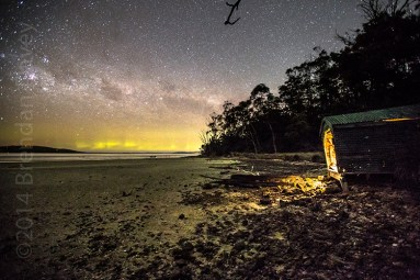 'Working Late', Aurora over Mortimer Bay, Tasmania.