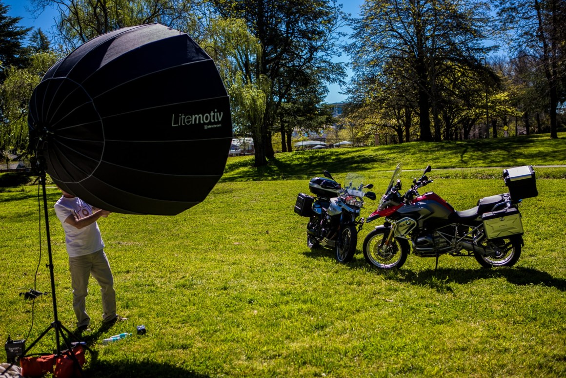 Elinchrom Litemotiv 190cm used to photograph multiple motorbikes in full midday sun.