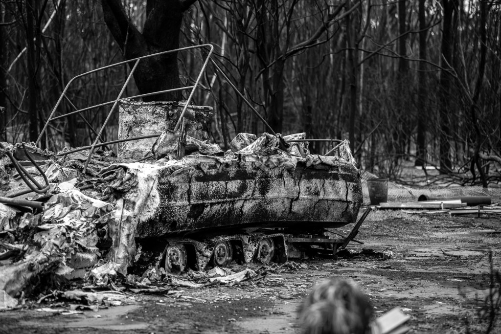No that is not a tank but an expensive burnt-out boat from the bushfires