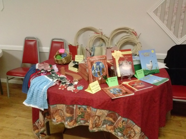 My table with a variety of handcrafted items. And wax cotton ropes.