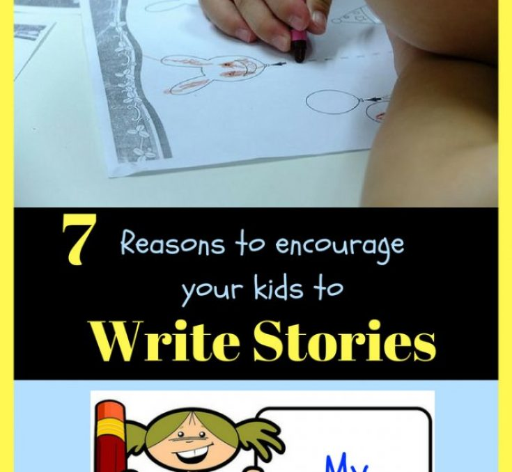 """7 reasons to encourage your kids to write stories. "" Little kid coloring, little cartoon girl holding a book and pencil smiling that says my stories."