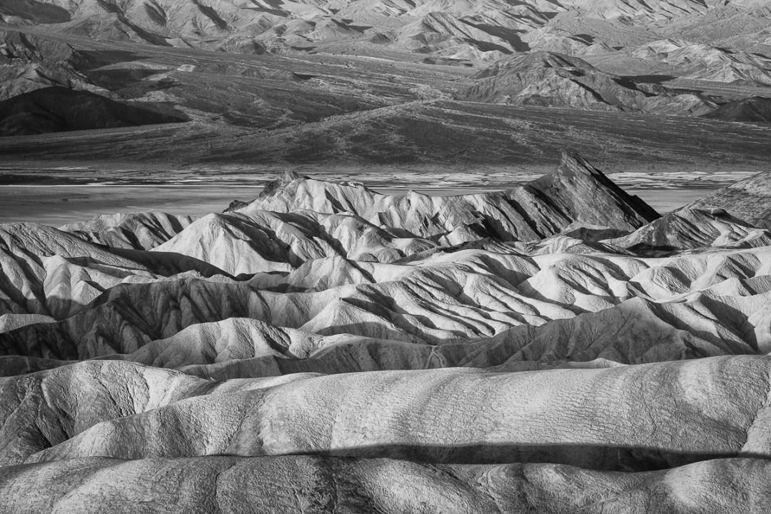 Zabriskie Point in black-and-white.