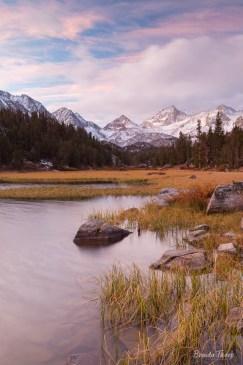 Dawn over Little Lakes Valley in the Eastern Sierra Nevada Range, California.