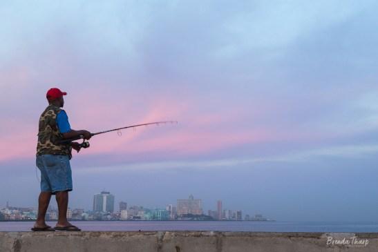 Fisherman along the Malecón, Havana, Cuba.