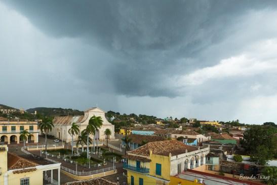 A rain storm over Trinidad, Cuba.