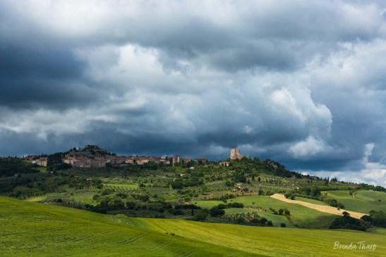 Stormy skies over Pienza.