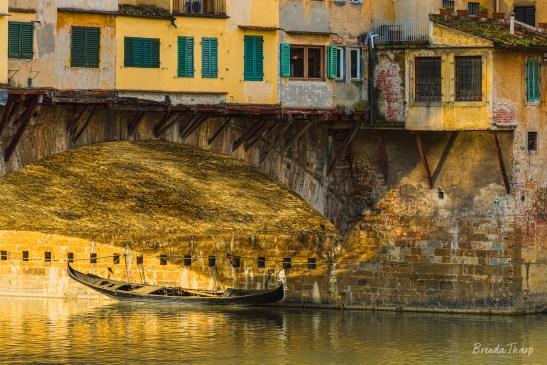 Boat under the Ponte Vecchio.