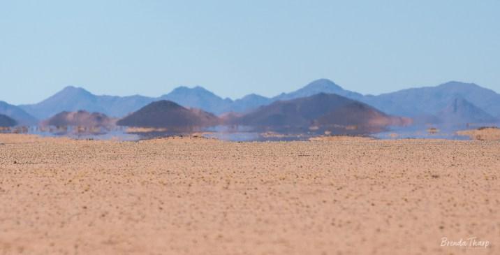Mirage in Namibian desert.