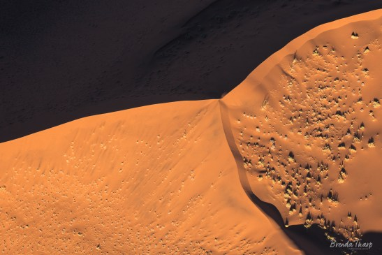 Aerial of star dune formation, Namibia.