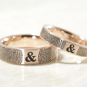 14 k rose you and me fingerprint ring set