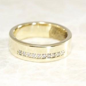 Custom diamonds and 14k yellow gold fingerprint ring by Brent&Jess