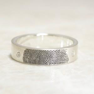 Two Diamond Fingerprint Wedding Band in Sterling Silver