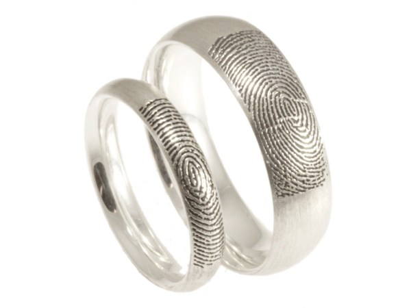 Comfort fit low dome wedding bands with your fingerprint