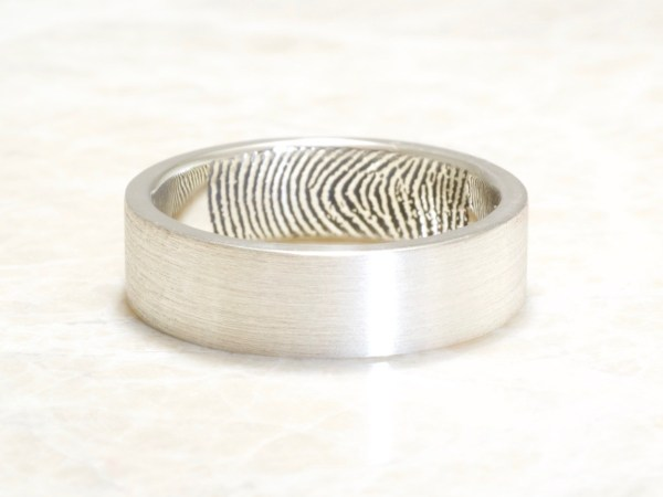 Custom memorial fingerprint ring with inside fingerprint by Brent&jess 6mm flat band