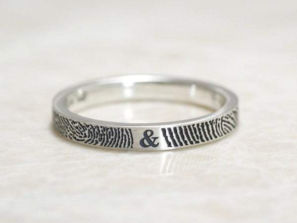 Narrow You and me fingerprint ring by Brent&Jess