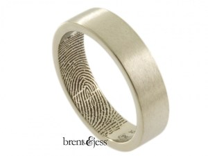6mm 10k white wedding Band with interior fingerprint handmade by Brent&Jess