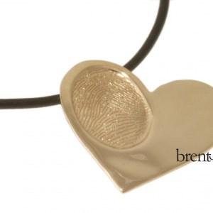 14k Rose Gold Custom Fingerprint Heart Pendant