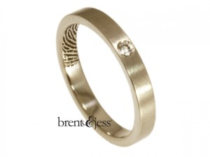 18k white Single diamond fingerprint commitment band by Brent&Jess