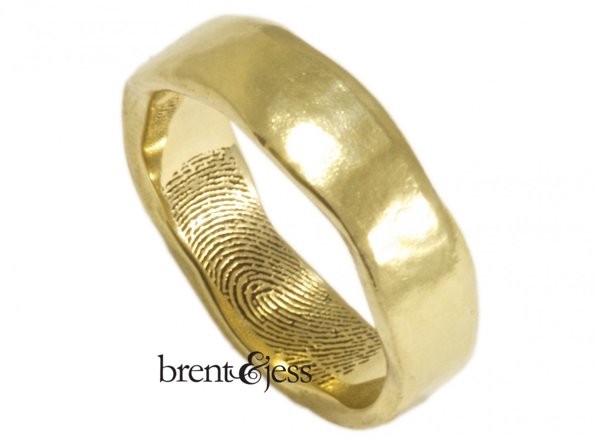 Custom 14k Yellow Organic fingerprint ring by Brent&Jess