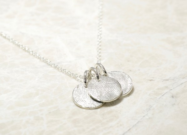 Sterling Silver Custom Family Fingerprint Charms Necklace